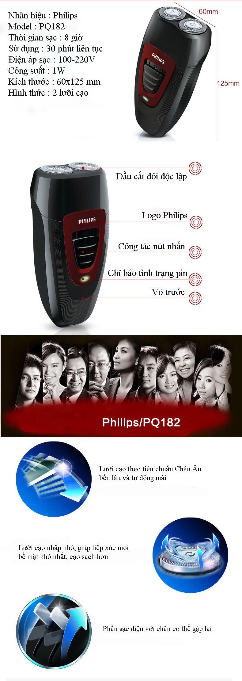 Dao cạo râu điện 2 lưỡi cao cấp Philips PQ182 6