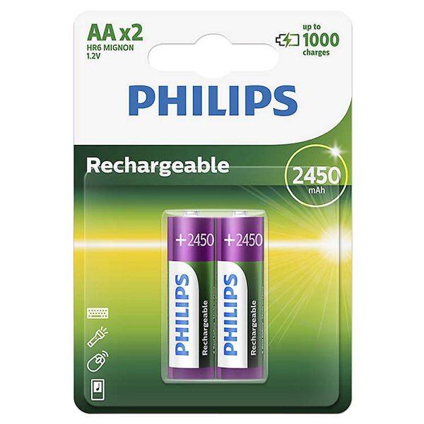 Vỉ 2 Pin Sạc Philips NiMH AA 2450mAh 1