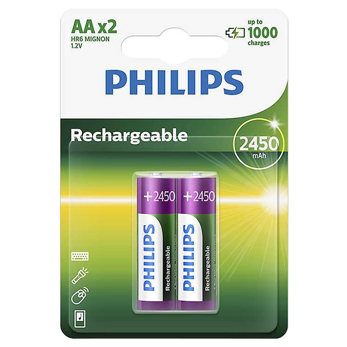 Vỉ 2 Pin Sạc Philips NiMH AA 2450mAh 20