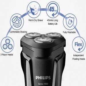 Máy cạo râu 3 lưỡi Philips tích hợp đèn led S1010 27