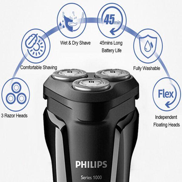 Máy cạo râu 3 lưỡi Philips tích hợp đèn led S1010 14