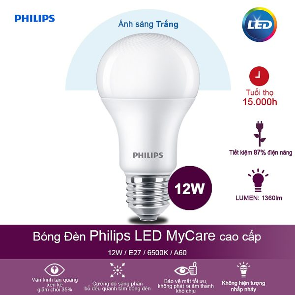 Bóng đèn Philips MyCare 12W 6500K E27 A60 - Ánh sáng trắng 2