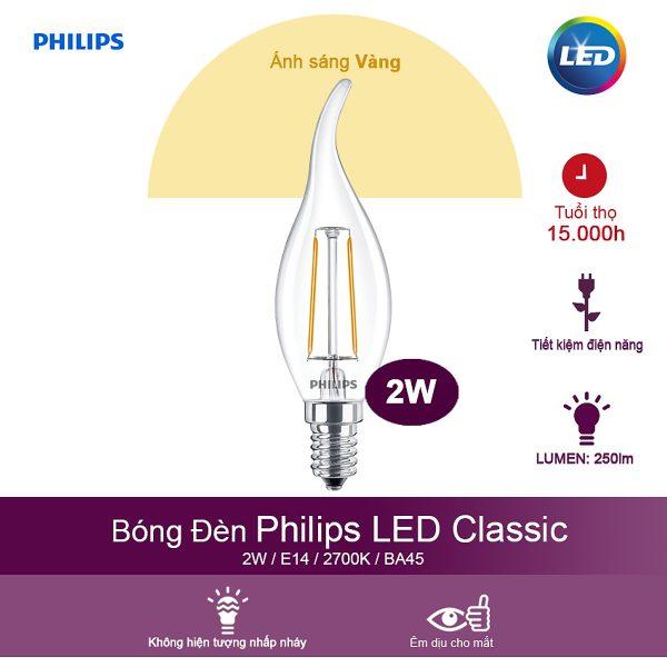 Bóng Đèn Philips LED Classic 2W 2700K E14 BA35 - Ánh Sáng Vàng 1