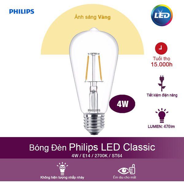 Bóng Đèn Philips LED Classic 4W 2700K E27 ST64 - Ánh Sáng Vàng 1