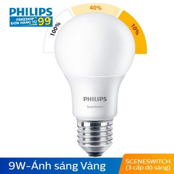 Bóng Đèn Philips LED 3 Cấp Độ Chiếu Sáng 9W 3000K E27 - Ánh Sáng Vàng 1