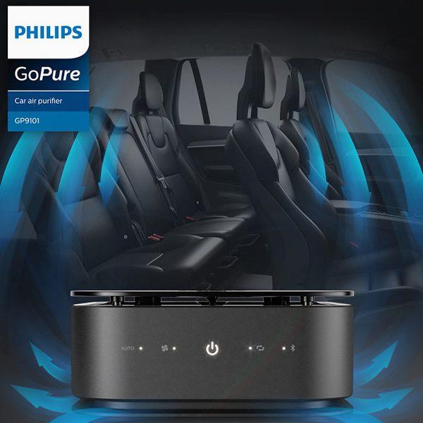 Máy lọc không khí, khử mùi trên xe ô tô Philips GP9101 cảm biến chất lượng không khí 6 màu 9