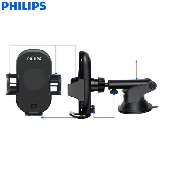 Gía đỡ điện thoại kiêm sạc không dây trên ô tô, xe hơi Philips DLK9411N 12