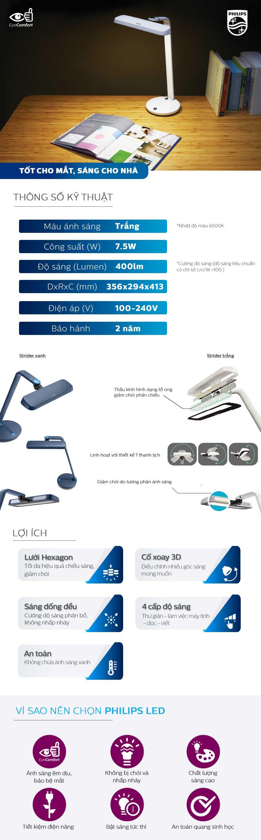 Đèn bàn Philips LED EyeCare Strider 66111 7.2W- Xanh Dương Đậm - Hàng Chính Hãng
