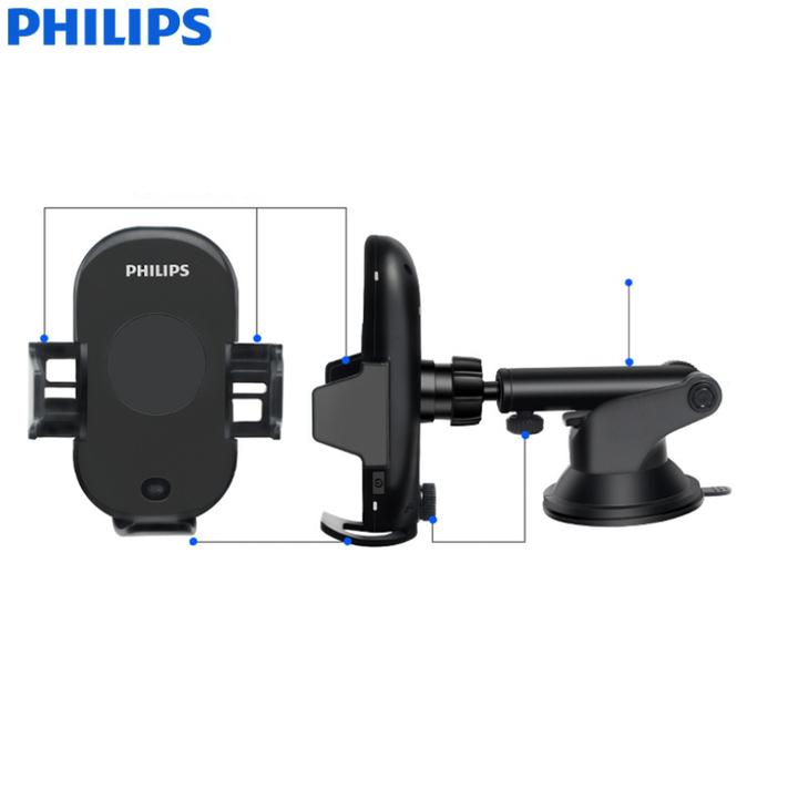 Gía đỡ điện thoại kiêm sạc không dây trên ô tô, xe hơi Philips DLK9411N 49
