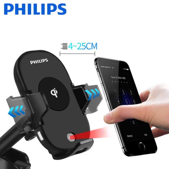 Gía đỡ điện thoại kiêm sạc không dây trên ô tô, xe hơi Philips DLK9411N 56