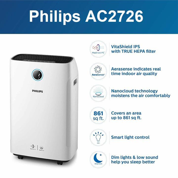 Máy lọc không khí kèm chức năng tạo độ ẩm 2 trong 1 Philips Series 3000 AC2726/00 40