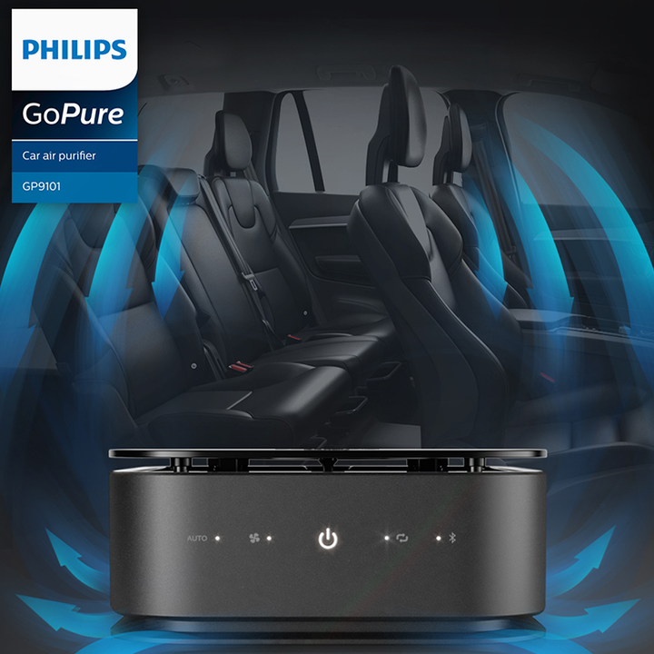 Máy lọc không khí, khử mùi trên xe ô tô Philips GP9101 cảm biến chất lượng không khí 6 màu 65