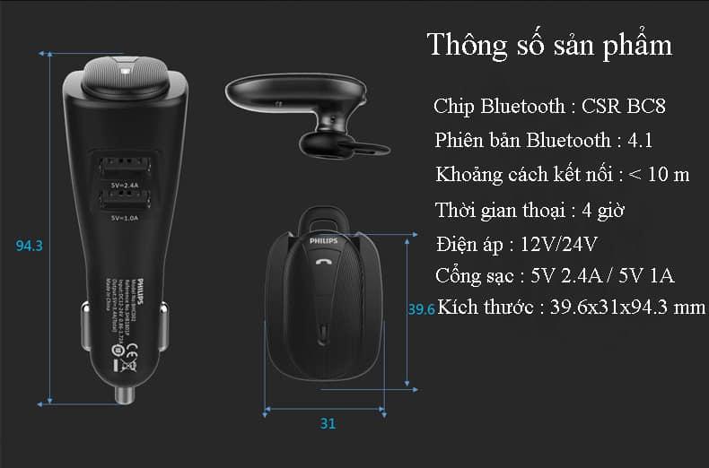 Tai nghe bluetooth kiêm sạc xe hơi, ô tô Philips SHB1801P 3